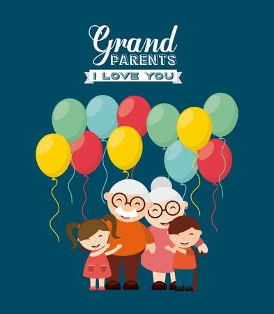 幸せな祖父母の日デザイン、ベクトル図 eps10 グラフィック  イラスト・ベクター素材