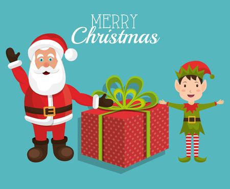 duendes de navidad: Colorido diseño de la Feliz Navidad tarjeta, ilustración vectorial eps 10 Foto de archivo