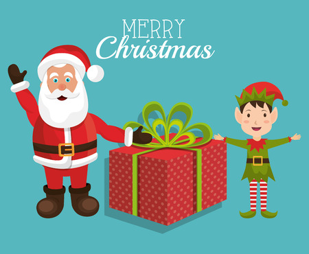 elf cartoon: Merry christmas colorful card design, vector illustration eps 10