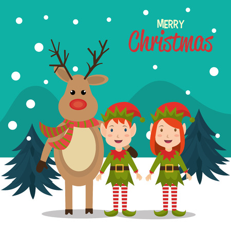duendes de navidad: Merry christmas colorful card design, vector illustration eps 10
