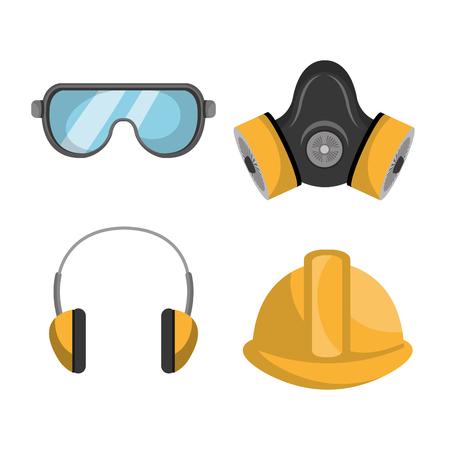 Equipos de seguridad industrial diseño gráfico, ilustración vectorial