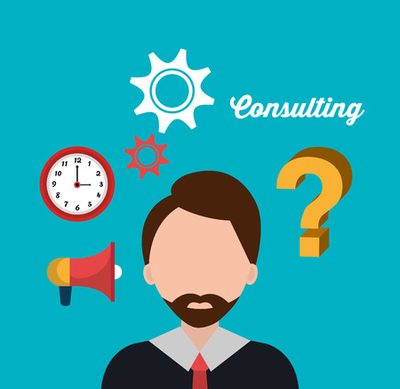 time sharing: Business professional consulting graphic design, vector illustration