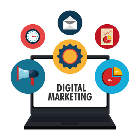 digital marketing: Digital marketing and ecommerce graphic design, vector illustration