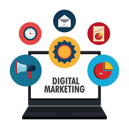consumer marketing: Digital marketing and ecommerce graphic design, vector illustration