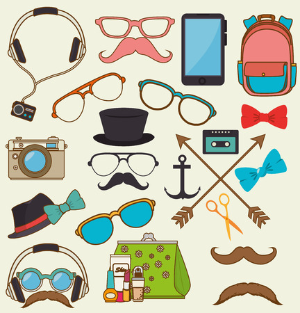 vintage fashion: Hipster fashion lifestyle design, vector illustration vintage graphic Illustration
