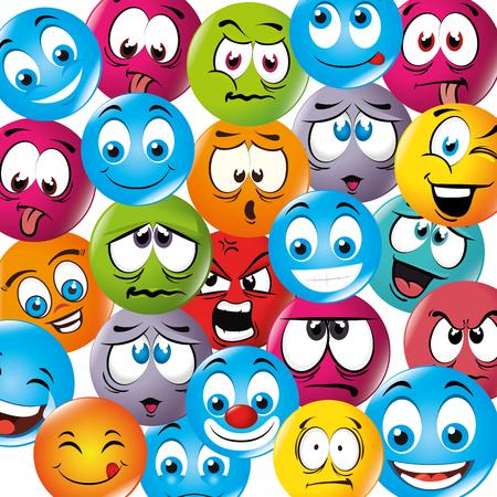 hapiness: Cartoon emoticon graphic design, vector illustration eps10