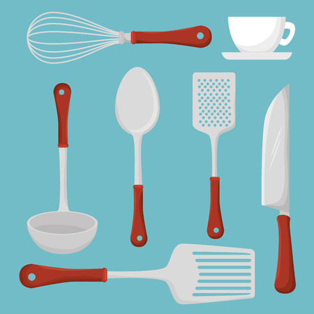 Restaurant and kitchen dishware design with icons, vector illustration graphic