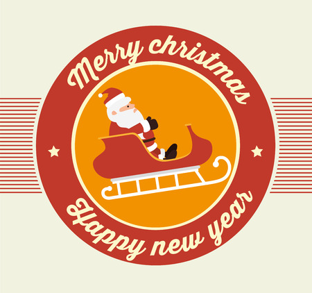 papier a lettre: Merry christmas colorful card design, vector illustration eps 10