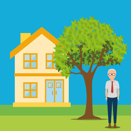 residential tree service: Real estate business and profits, vector illustration graphic Stock Photo