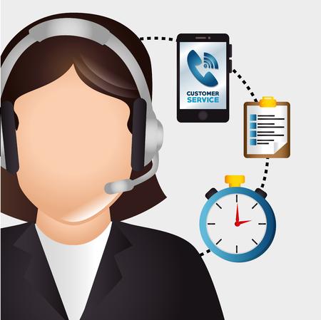 servicio al cliente: El servicio al cliente y el diseño gráfico de apoyo técnico, ilustración vectorial ESP10