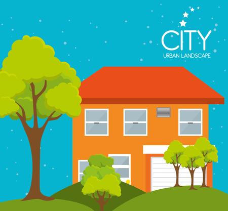 edifice: City urban landscape graphic design, vector illustration eps10 Illustration