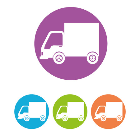 power delivery: Transport vehicles on round icon, vector illustration graphic Stock Photo