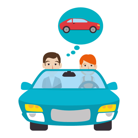 leasing: Buy or rent a car business, vector illustration graphic design.