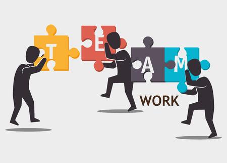 teamwork together: Business teamwork and leadership graphic design, vector illustration