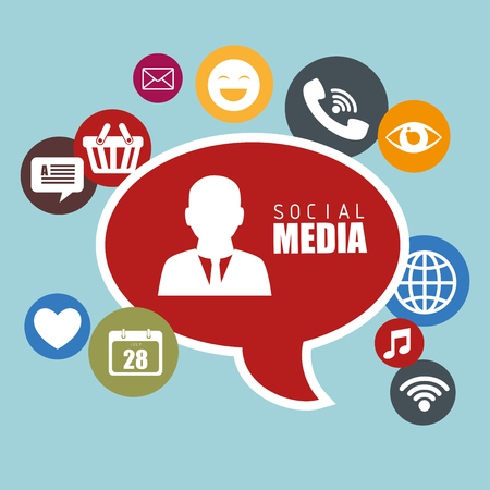 multimedia icons: Social media design with multimedia icons, vector illustration graphic