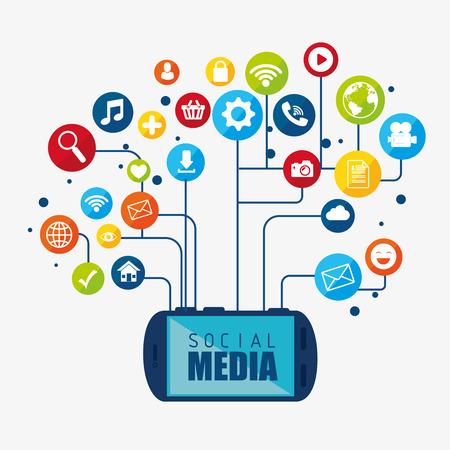 Social-Media-Design mit Multimedia-Icons, Vektor-Illustration, Grafik,