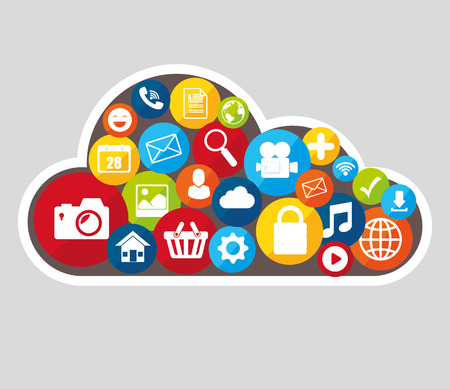 cloud technology: Social media design with multimedia icons, vector illustration graphic