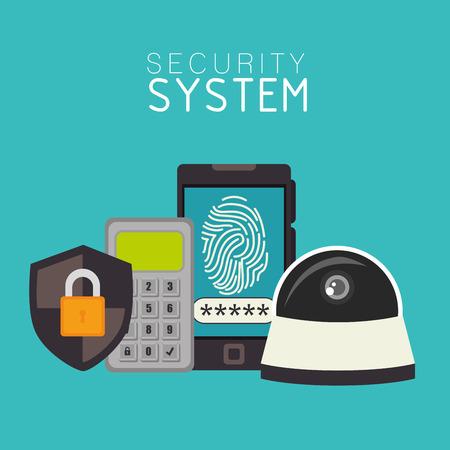 password: Sistema de seguridad de Vigilancia de diseño gráfico, ilustración vectorial