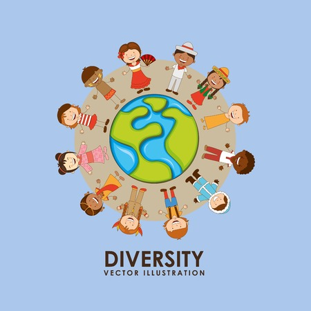 multicultural group: children of the world design, vector illustration eps10 graphic