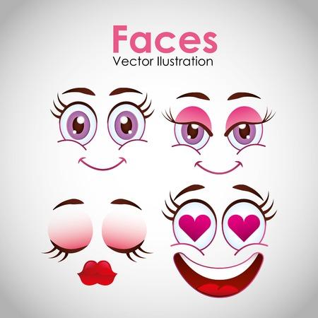 flirty: smiley faces design, vector illustration eps10 graphic