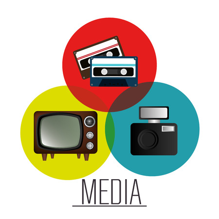 casette: Mass media news graphic design with icons