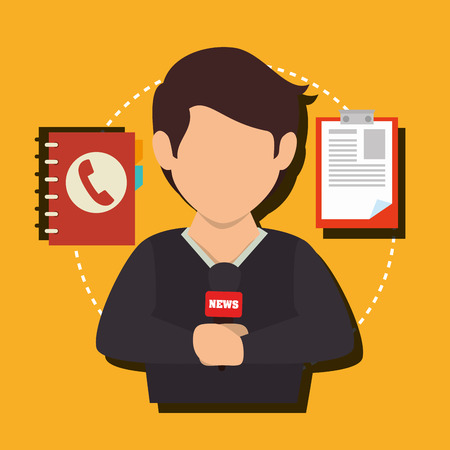 telephone interview: Mass media news graphic design with icons