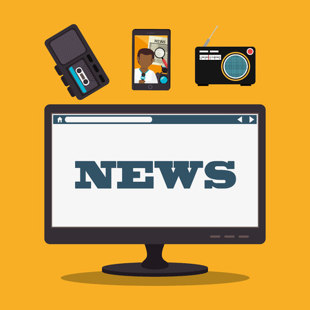 mass: Mass media news graphic design with icons, vector illustration