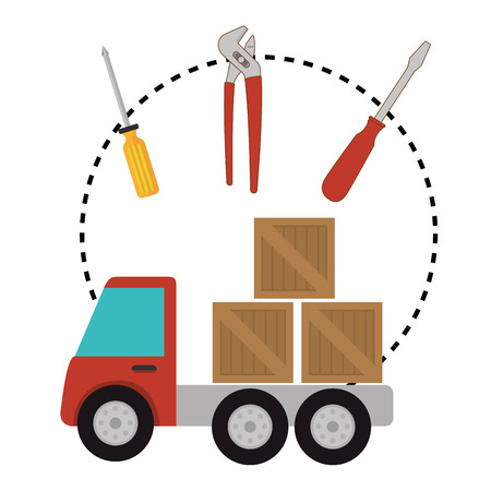 Delivery and logistics business graphic design, vector illustration