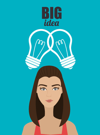 practical: Big ideas from young minds cartoon graphic design, vector illustration.