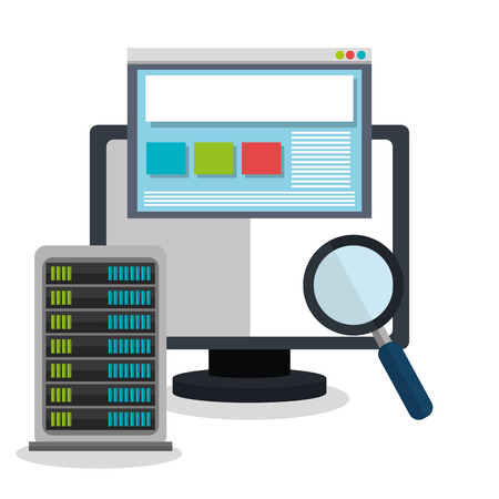 Web housting, cloud computing and technology theme design, vector illustration graphic