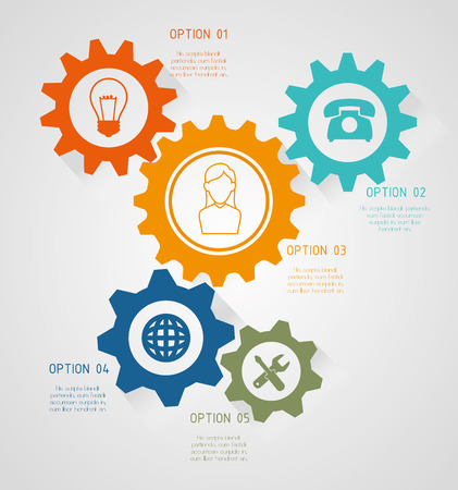 gearing: Gears, cogs or wheels graphic icons design, vector illustration eps10 Illustration