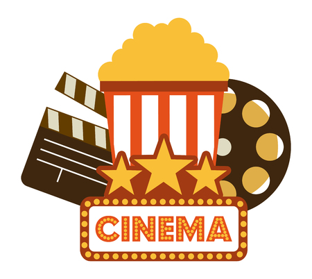 clap board: Cinema concept with movies icons design, vector illustration 10 eps graphic