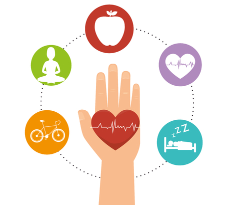 Wellness healthy lifestyle icons graphic design, vector illustration