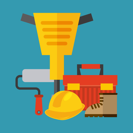 industrial safety: Under construction concept with tools design, vector illustration 10 eps graphic