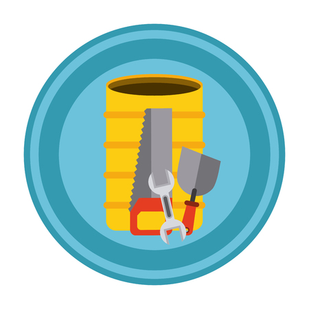 warning saw: Under construction concept with tools design, vector illustration 10 eps graphic