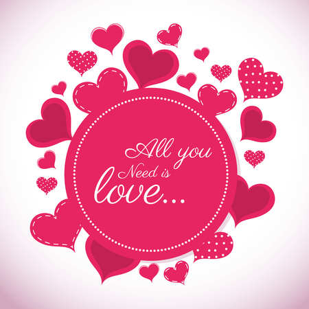 romantic: Romantic colorful card design with pink hearts graphic design, vector illustration