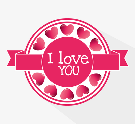 romanticism: Romantic colorful card design with pink hearts graphic design, vector illustration