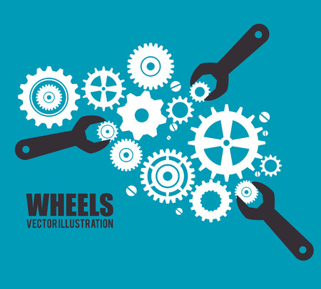 gears and cogs: Gears, cogs or wheels graphic icons design, vector illustration eps10 Stock Photo