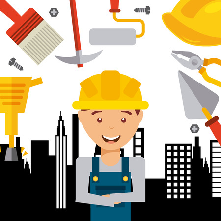 under construction sign with man: Under construction concept with tools icons design, vector illustration 10 eps graphic