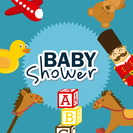 Funny background: Baby Shower concept with decoration objects design, vector illustration 10 eps graphic Illustration