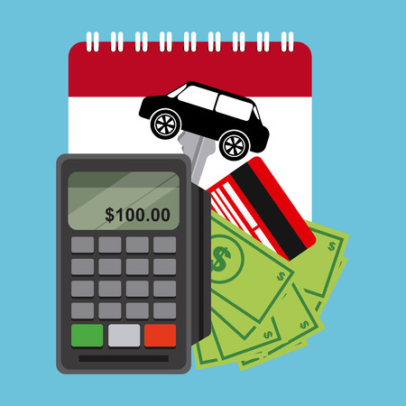 car bills: Car Sale concept with shopping icons design, vector illustration 10 eps graphic Illustration