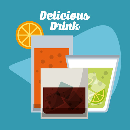 coke: Drinks concept with glasses icons design, vector illustration 10 eps graphic Illustration