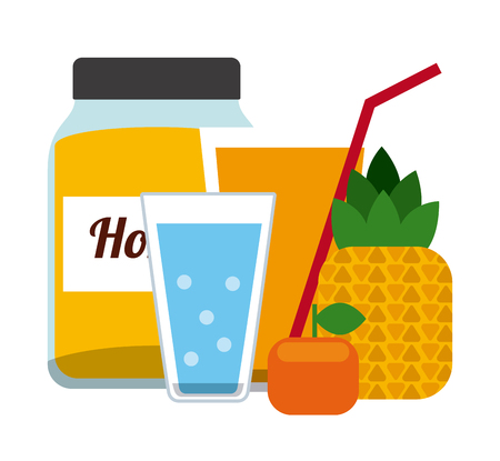 pine apple: Drinks concept with glasses icons design, vector illustration 10 eps graphic Illustration