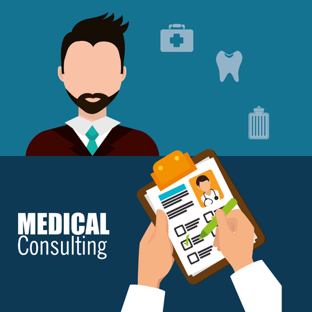 diagnosis: Medical healthcare graphic design with icons, vector illustration graphic Illustration