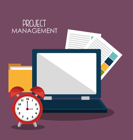 business project: Business project management graphic design with icons, vector illustration