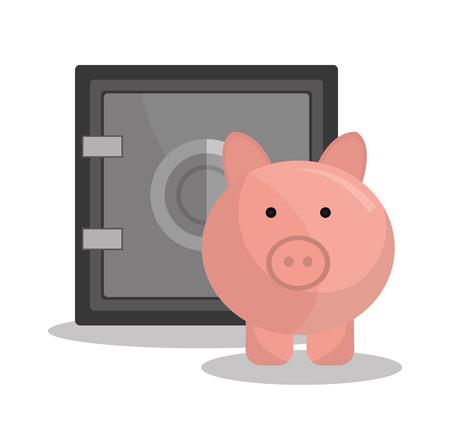 saving bank: Bank,global economy and money savings graphic, vector illustration design