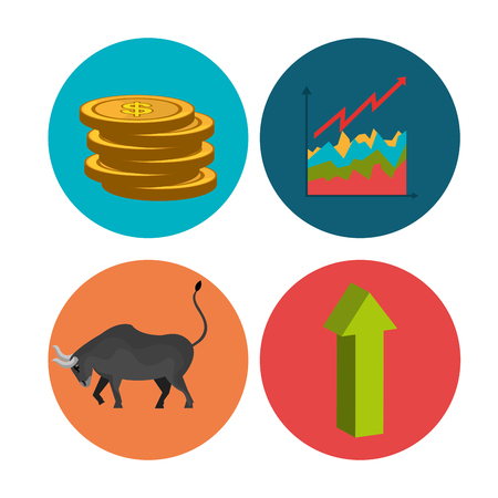 stock price: Stock market and exchange graphic icons, vector illustration
