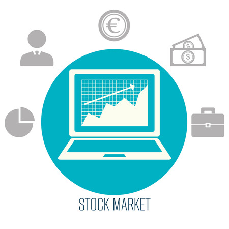 stock broker: Stock market and exchange graphic icons, vector illustration