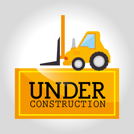 industrial construction: Under construction and tools graphic design, vector illustration