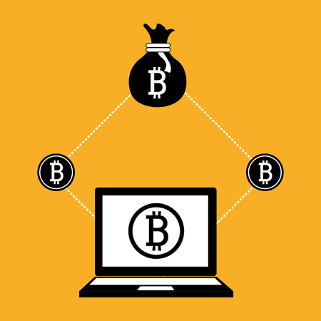 counting money: Bitcoin virtual money graphic icons design, vector illustration eps10